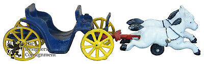Antique Cast Iron White Horse Drawn Open Carriage Blue & Yellow Stanley Toys