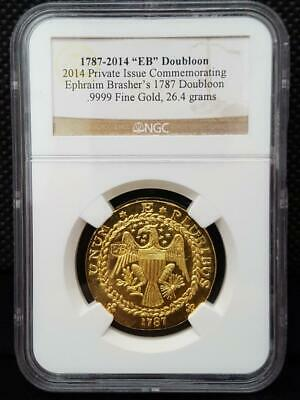"1787-2014 Commemorative BRASHER ""EB"" DOUBLOON Gold .9999 Coin 26.4g NGC"