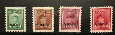 Canada 1949-1950  4 Official War Issue  'Ohms' Overprint Mh Stamps
