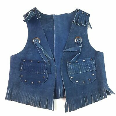 Vintage Sears Boys Girls Leather Cowboy Cowgirl Vest Blue Fringed Studded 6 6X
