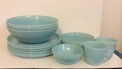 Lot 15 Pieces Fire King Turquoise Glass Serving Bowls Berry and Salad Bowls Plat