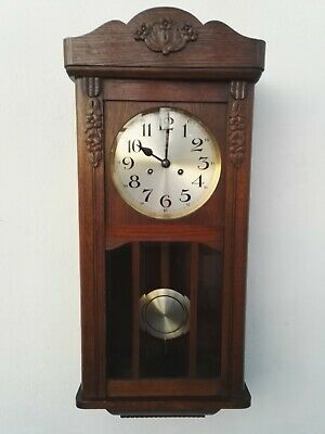 ANTIQUE PENDULUM WALL CLOCK REGULATOR OAK GONG (like Junghans Kienzle Becker)