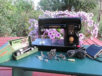 Vintage Singer 301A Sewing Machine 1954 with Attachments