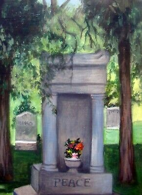 (REDUCED AGAIN)  Cemetery Peace Original oil  painting