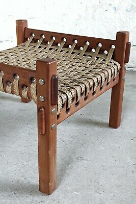 Safari footstool / Ottoman, Mid Century teak frame with and reed woven braiding