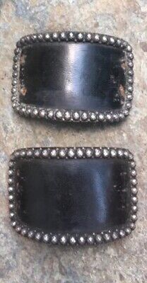 Antique Boulton &Smith George III Era Leather Steel Shoe Buckles Pre-1802 Signed