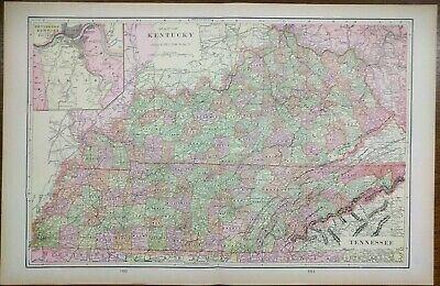 """Vintage 1901 KENTUCKY TENNESSEE Map 22""""x14"""" ~ Old Antique Original PADUCAH"""