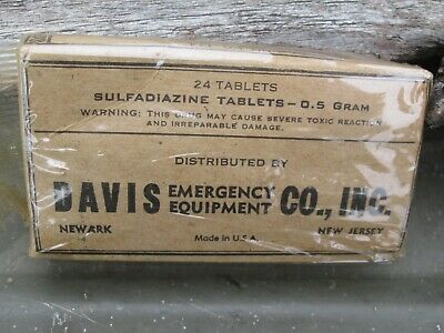 1-60-5 Authentic WWII WW2 Army 24 Wound Tablets For First Aid Medic Bag Pouch