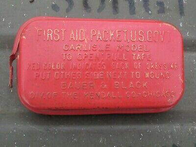 1-60-5 Authentic WWII WW2 Army 1941 Carlisle Bandage First Aid Medic Bag Pouch