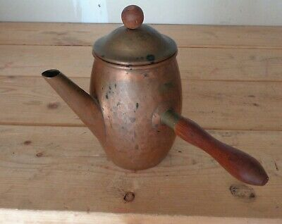 Vtg Hammered Copper Turkish Small Coffee Pot Or Creamer w/ Lid & Handle Denmark
