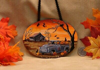 Hand Painted Halloween Ornament Wooden Glitter Truck JOL Cats Barn Ghost Witch