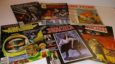 Old Science Fiction Comic Magazine Lot, Star Rider, Meteor, Paradox, Dracula, +