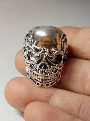 Chinese Collectable Tibet Silver Hand Carved Skull Ring z7026
