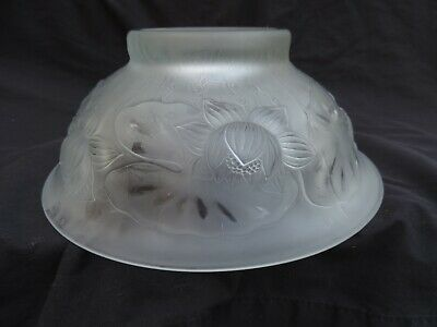 Vintage R. Lalique Water Lily Frosted Crystal Bowl Signed Glass