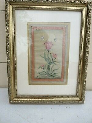 Gorgeous Framed Antique Persian Gilded Watercolor Painting Study of Flower Tulip