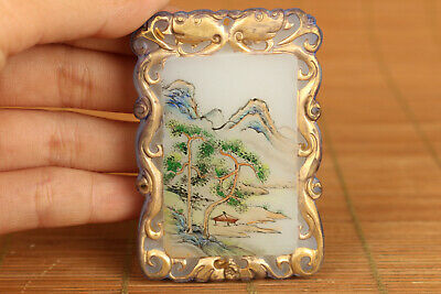 ID card old glaze hand painting landscape hill pendant collectable noble gift