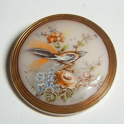 "LOVELY 1 1/4"" BLUSH PINK GLASS BUTTON w/ELEGANT BIRD & FLOWER SCENE"