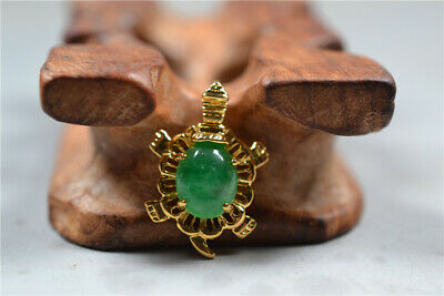 Chinese Exquisite Gold-plated inlaid Jade handmade Tortoise shape Pendant