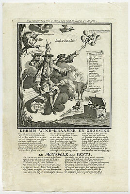 Antique Print-STOCK MARKET-SATIRE-TREASURY-BLOWN OUT OF PROPORTION-John Law-1720