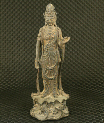 antique chinese old bronze hand carved guan-yin buddha statue collect home deco