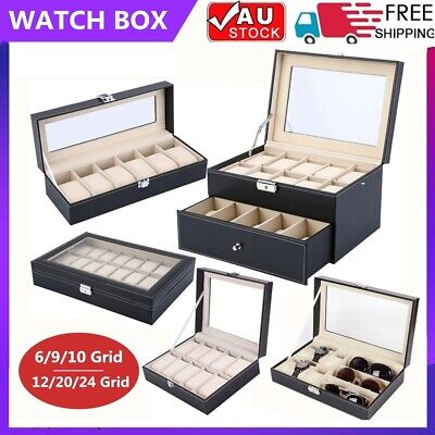 6/9/10/12/20/24 Watch Box Jewelry Storage Holder Watches Sunglasses Display Gift