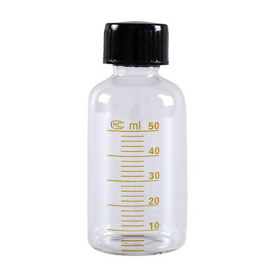 1pcs 50ml Scale lab glass vials bottles clear containers with black screw cap az