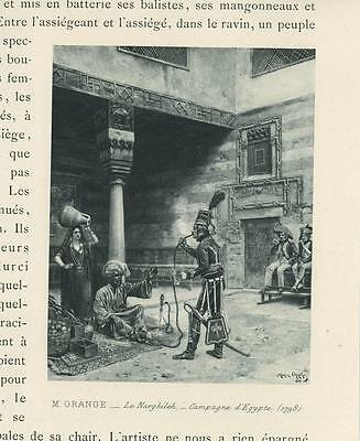 Antique Egyptian Campaine Egypt Woman Man Soldiers Smoking Pipes Miniature Print