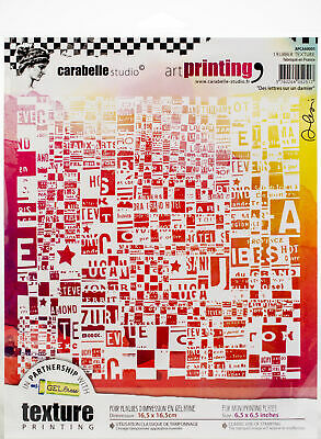 Carabelle Studio Art Printing Square Rubber Texture Plate-Letters On A Checkerbo