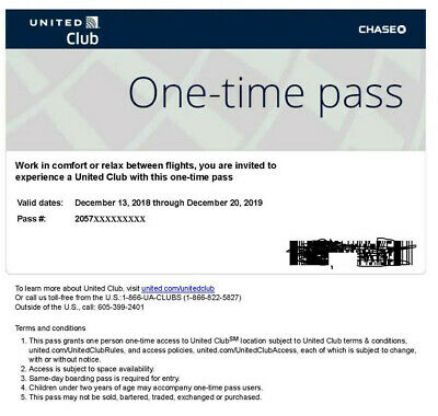 United Club Pass Chase Lounge One Time Pass EXPIRES 12/20/2019 e-delivery only