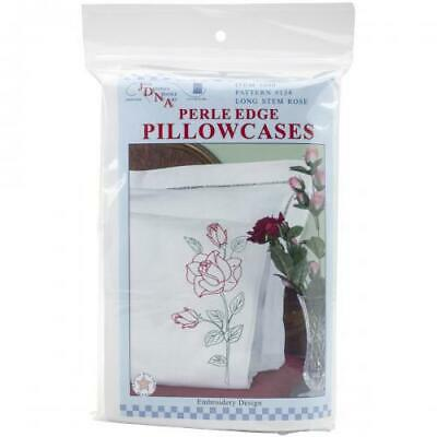 Jack Dempsey Stamped Pillowcases W/White Perle Edge 2/Pkg-Long Stem Rose
