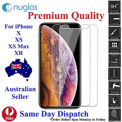 Nuglas Tempered Glass Screen Protector for APPLE iPhone X, XS, XS Max, XR -2pack