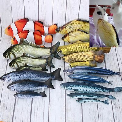 Funny Cat Pet Realistic Fish Shape  Stuffed Mint Interactive Chewing Playing Toy