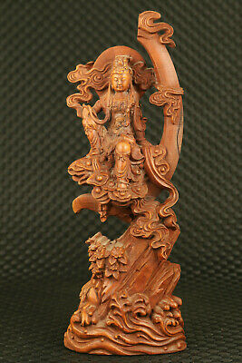 Chinese old boxwood hand carved guan-yin sit tree statue home decoration