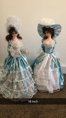 Dolls Musical 18inch. Wearing Blue & White Satin
