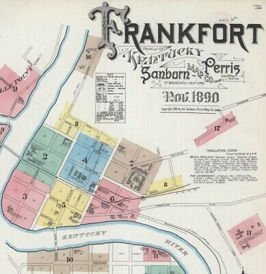 Frankfort, Kentucky~Sanborn Map© sheets~17 maps in full color.