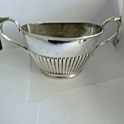 Antique  Repousse Silver Plate  Sugar Bowl Reeded Design J Rodgers & Sons