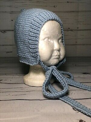 Hand knitted baby girls bonnet, FOUR SIZES, Duck egg blue or Grey