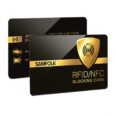 RFID/NFC Blocking Card 2 Pack, SAMFOLK Contactless Protection, Debit Visa Scan P