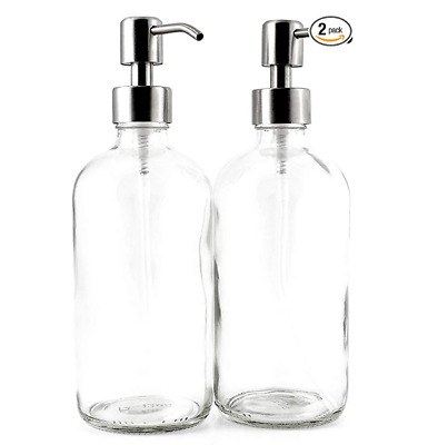 16-Ounce Clear Glass Boston Round Bottles w/Stainless Steel Pumps (2 Pack)
