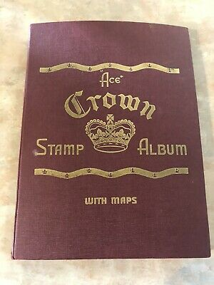Large Old Stamp Collection Worldwide Mixture 900+ Stamps in Ace Crown Album