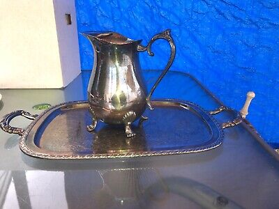 Leonard Silver Plate Footed Pitcher & Serving Tray