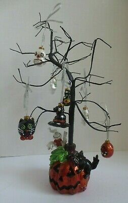 Pfaltzgraff Halloween Pumpkin Base Tree with Cat and Ghost Plus 7 Ornaments