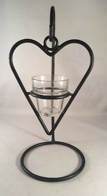 Wrought Iron Hanging Heart Metal Candle Votive Holder Country Decor