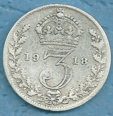 SOLID SILVER 3d 1918 Coin English World War I  three pence piece thrupence