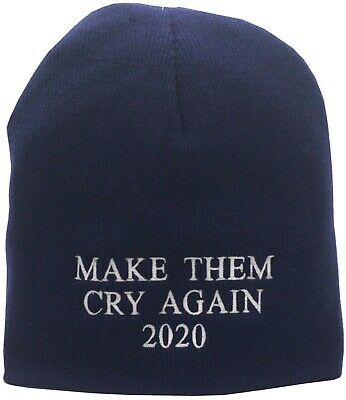 Make Them Cry Again 2020 Trump Skull Knit Blue