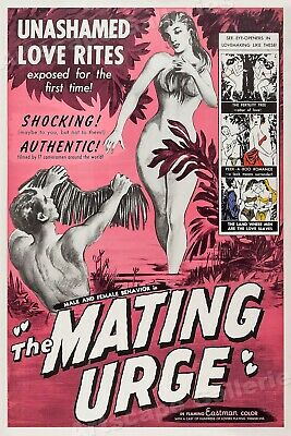 """1950s Movie Poster """"The Mating Urge"""" Adult Vintage Style Movie - 16x24"""