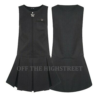 Girls School Pinafore Dress Pleated Grey, Navy & Black Butterfly Zip Front