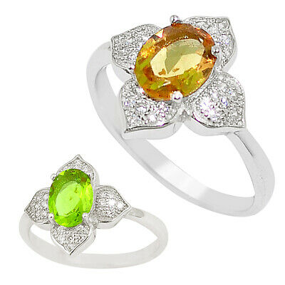 Green alexandrite (lab) topaz 925 sterling silver ring size 7.5 a75102