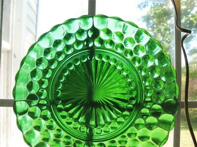 """Set of 6 Anchor Hocking BUBBLE GLASS Forest Green Dinner Plates 9 3/8"""""""