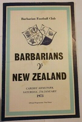 Barbarians v New Zealand Rugby Union Programme January 1973 (Gareth Edwards)